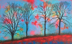 Winter's Fire by Jo Starkey - Original Painting on Board sized 39x24 inches. Available from Whitewall Galleries